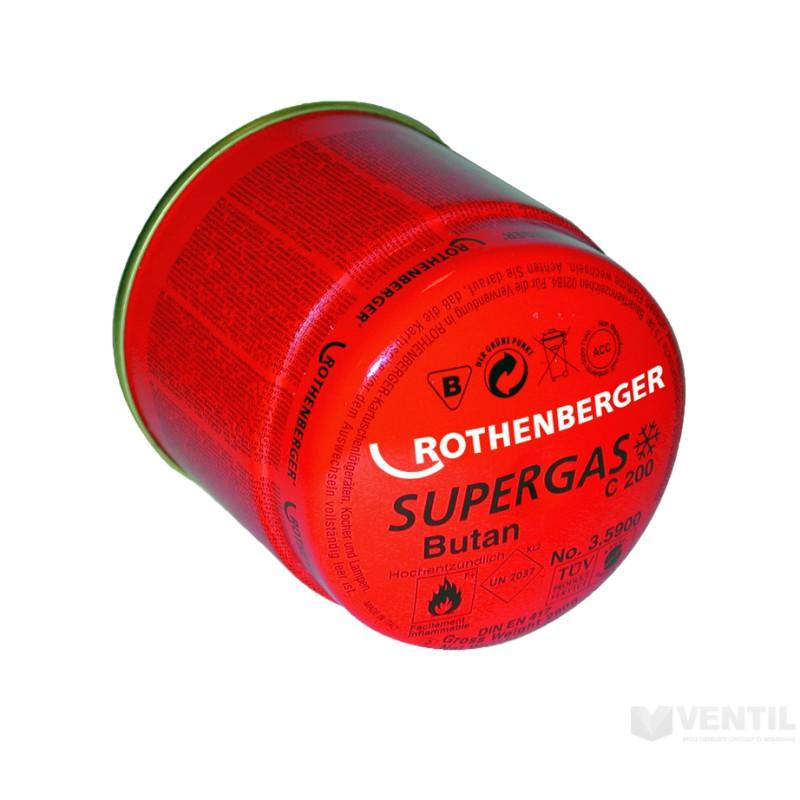 Cartus de gaz cu valva tip membrana - C200 Supergaz / 190 ml Rothenberger, 35901-B