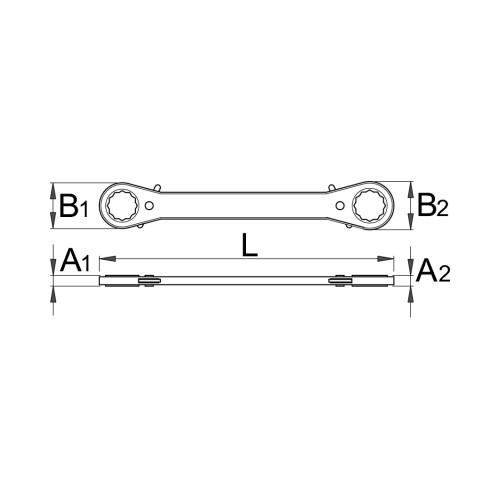 Cheie inelara dubla dreapta cu clichet, Unior, 611633
