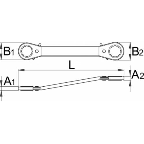 Cheie inelara dubla cotita, cu clichet, Unior, 611640