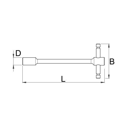 Cheie tubulara din metal in T, Unior, 602075